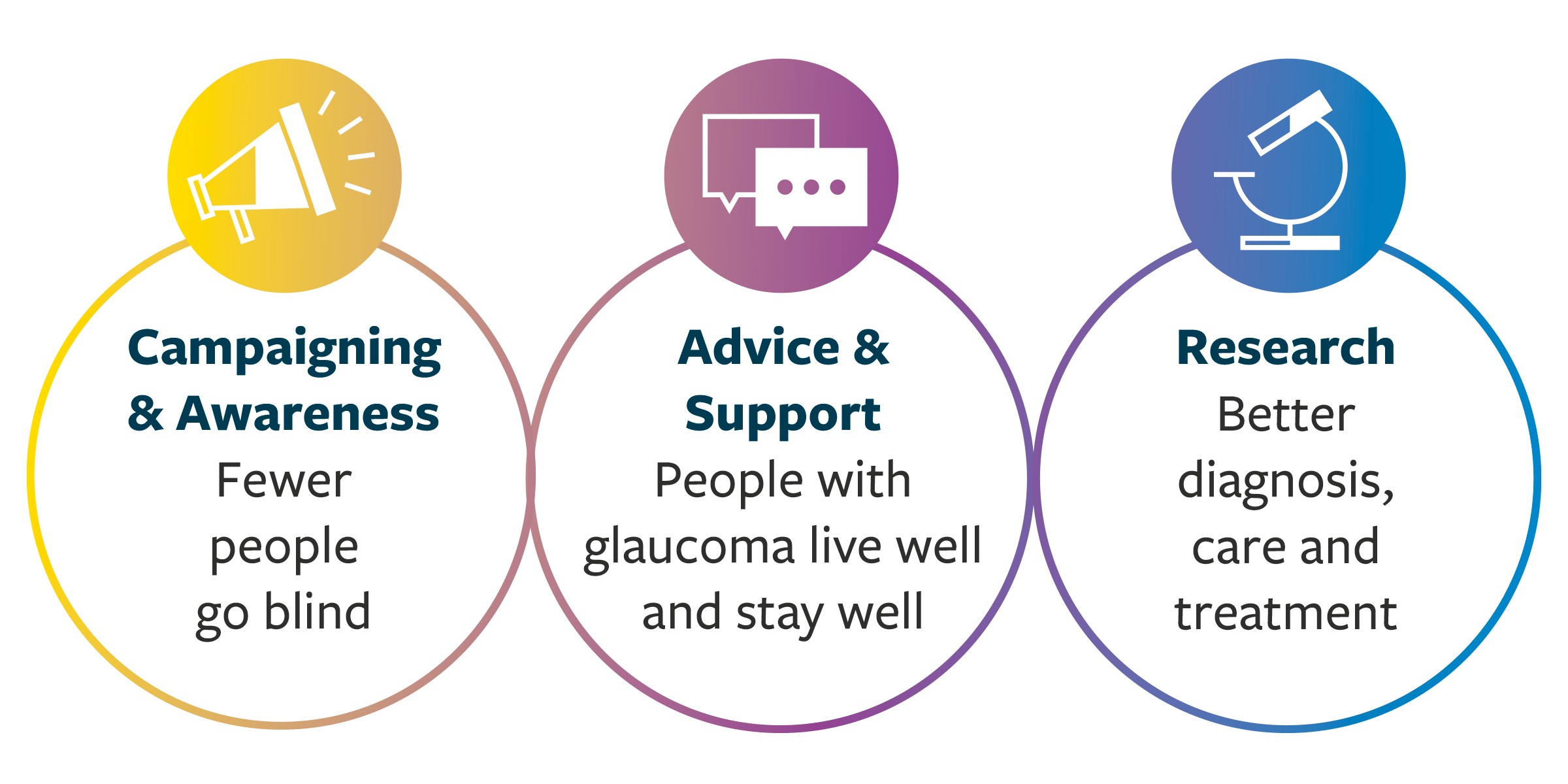 This graphic shows the 'three pillars' of Glaucoma UK's work: Campaigning and Advocacy, Advice and Support, and Research