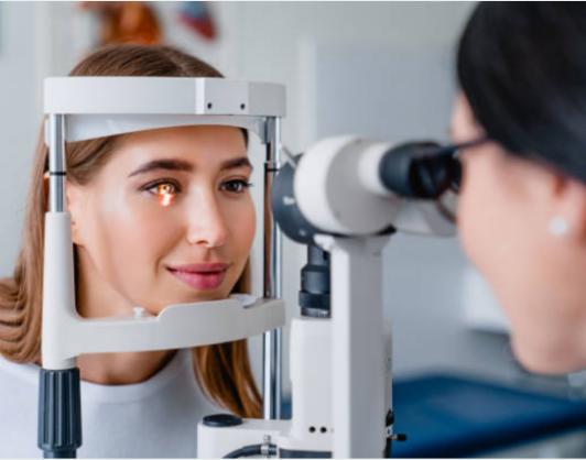 person receiving eye exam