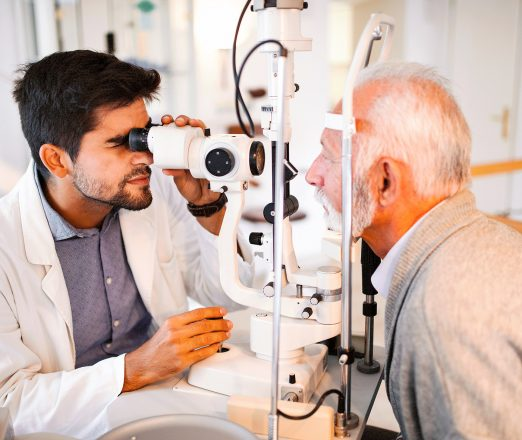 A man having his eyes tested