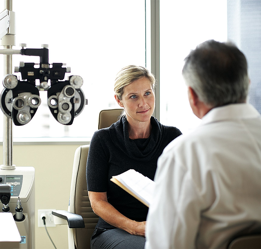 A specialist and patient in an eye clinic