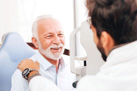 Man having eye test