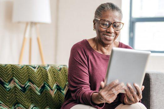 Senior women ordering online
