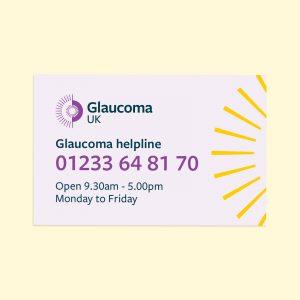 Glaucoma UK helpline card