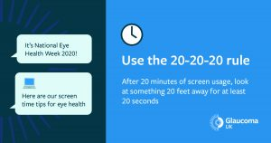 Image text: Use the 20-20-20 rule. After 20 minutes of screen usage, look at something 20 feet away for at least 20 seconds