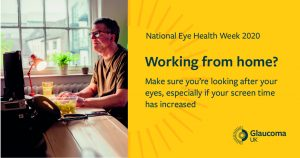 Image text: Working from home? Make sure you're looking after your eyes, especially if your screen time has increased