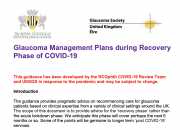 Glaucoma management plans during COVID recovery report