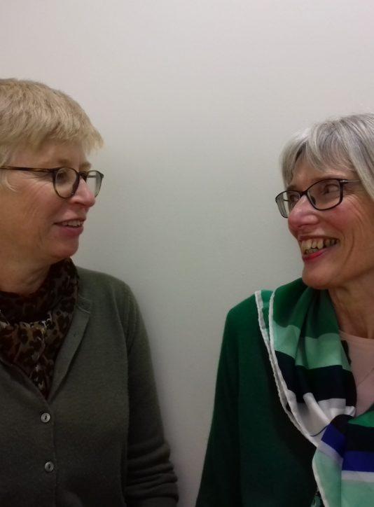 Helen Brazier and Jill Aldred talking