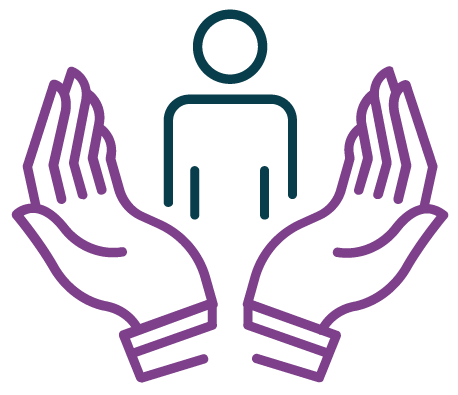 Icon graphic showing a person enclosed by two hands